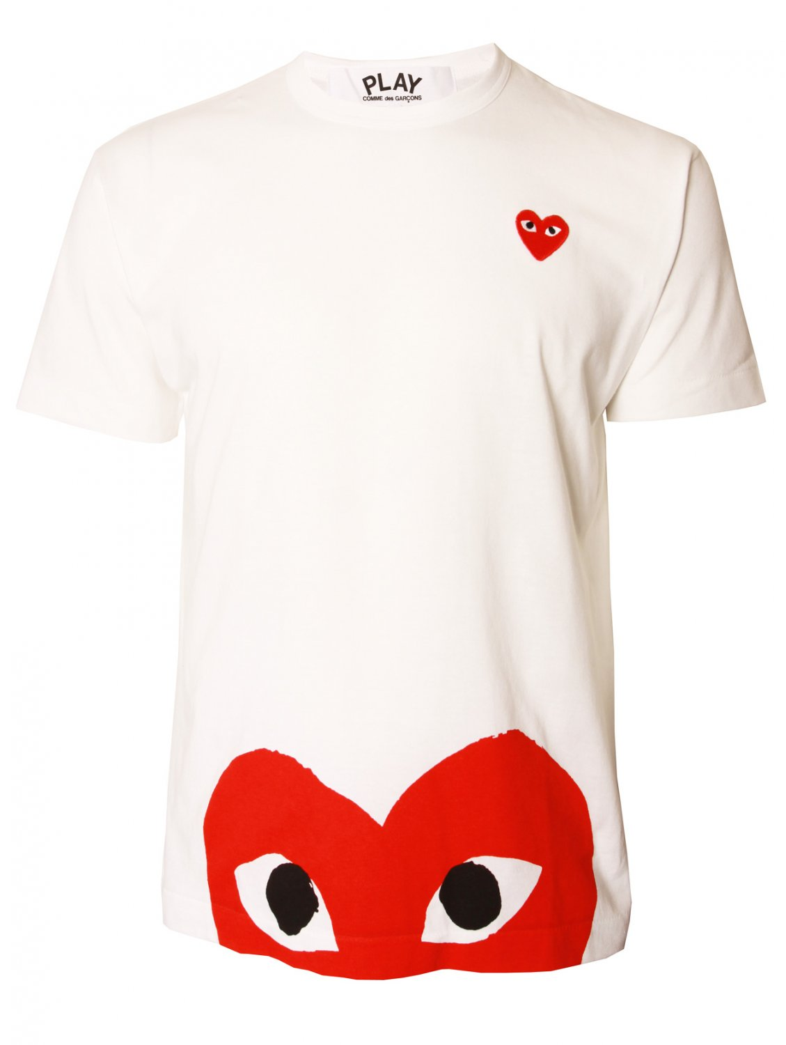 comme des gar ons play mens red heart hem t shirt white in. Black Bedroom Furniture Sets. Home Design Ideas