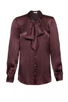 L'Agence Lagence Pleated Sleeve Tie Blouse Bordeaux - Lyst