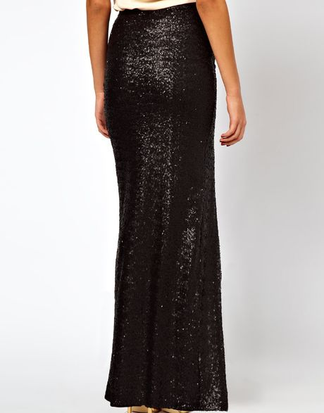 asos collection asos sequin maxi skirt with thigh high