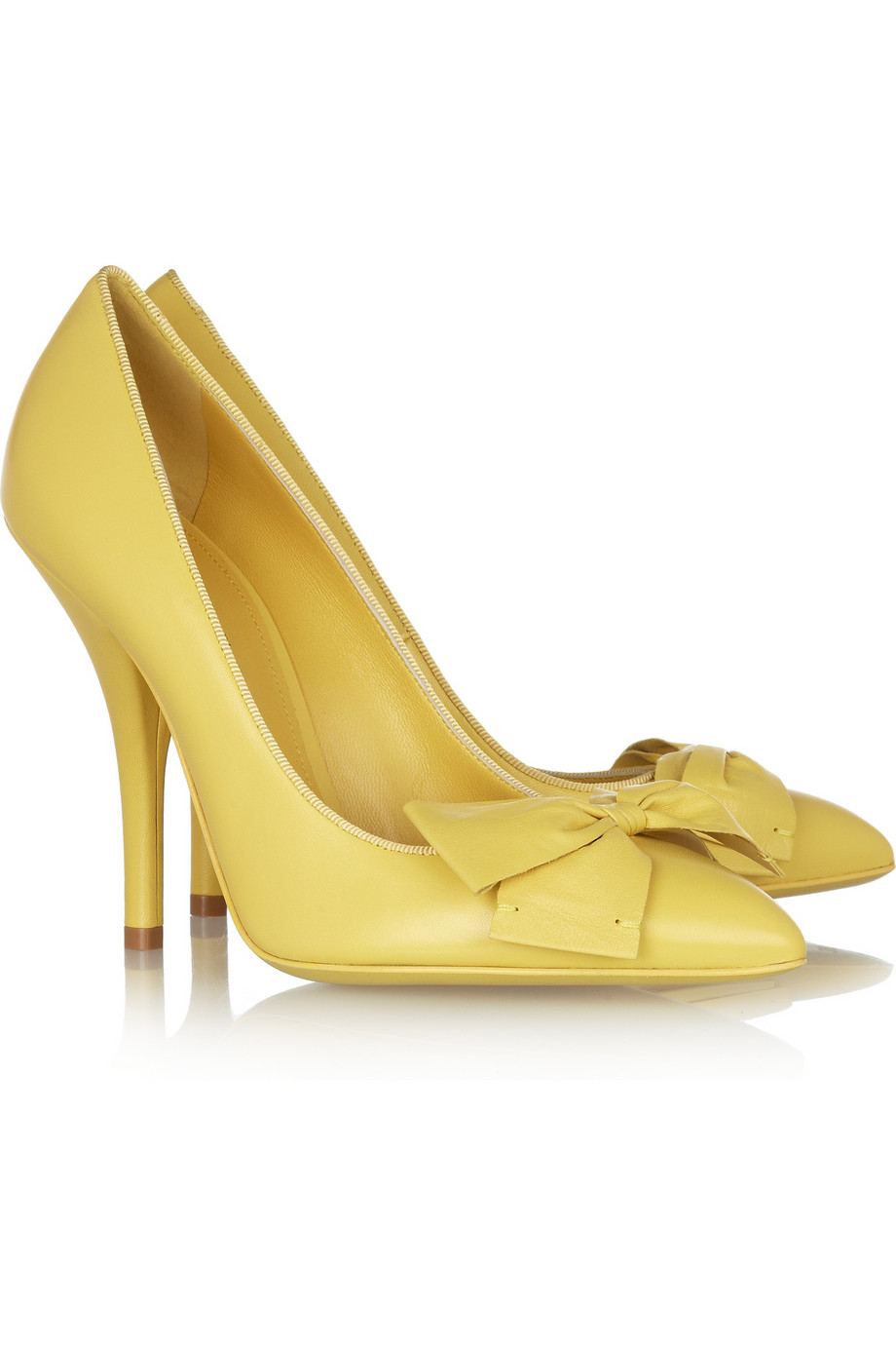 Shoeniverse: Bow front leather pumps in yellow by Bottega Veneta