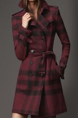 Burberry Midlength Check Trench Coat - Lyst