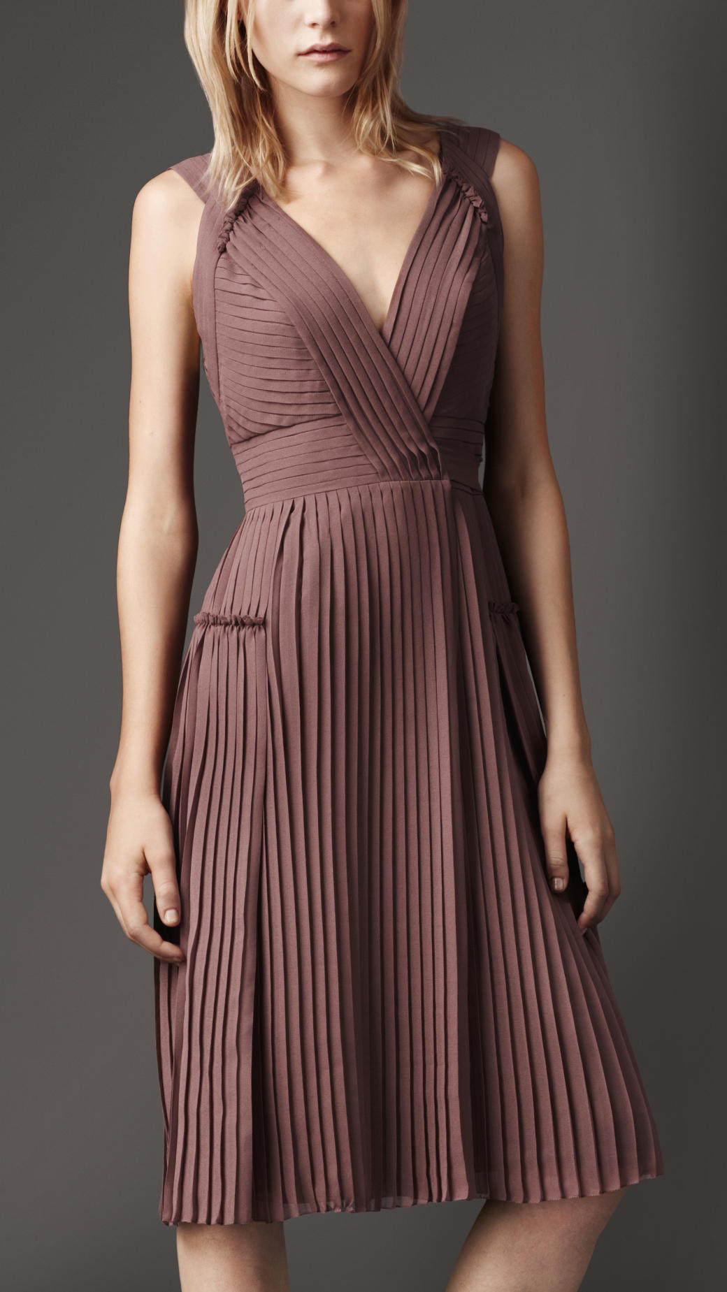 Lyst Burberry Pleated Wrap Dress In Pink