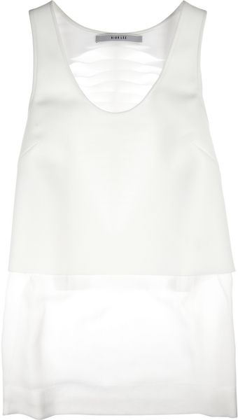 Dion Lee Lasercut Neoprene and Silkgeorgette Tank - Lyst
