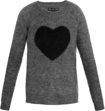 Elizabeth And James Heart Intarsiaknit Sweater - Lyst