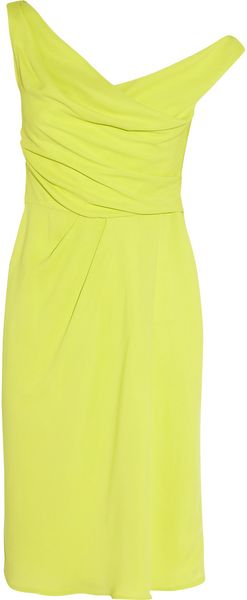 Lela Rose Asymmetric Draped Crepe Dress - Lyst