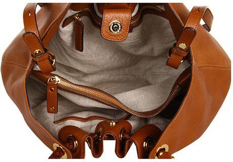 Michael Kors Skorpios Large Shoulder Bag Cinnamon Textured Leather 94
