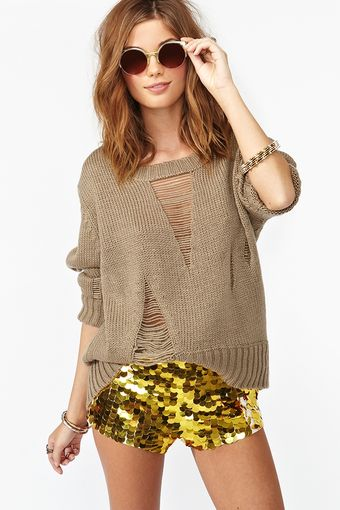 Nasty Gal Solid Gold Sequin Shorts - Lyst