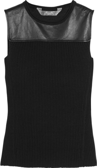 Reed Krakoff Leather-paneled Knitted Top - Lyst