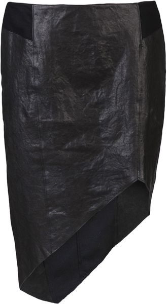 Helmut Lang Leather Skirt - Lyst