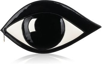 Lulu Guinness Black Patent Leather Eye Clutch - Lyst