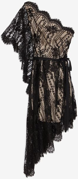 Lover Asymmetrical Sleeve Lace Dress Black - Lyst