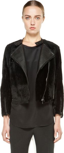3.1 Phillip Lim Motorcycle Jacket with Leather Panels in Black in Black