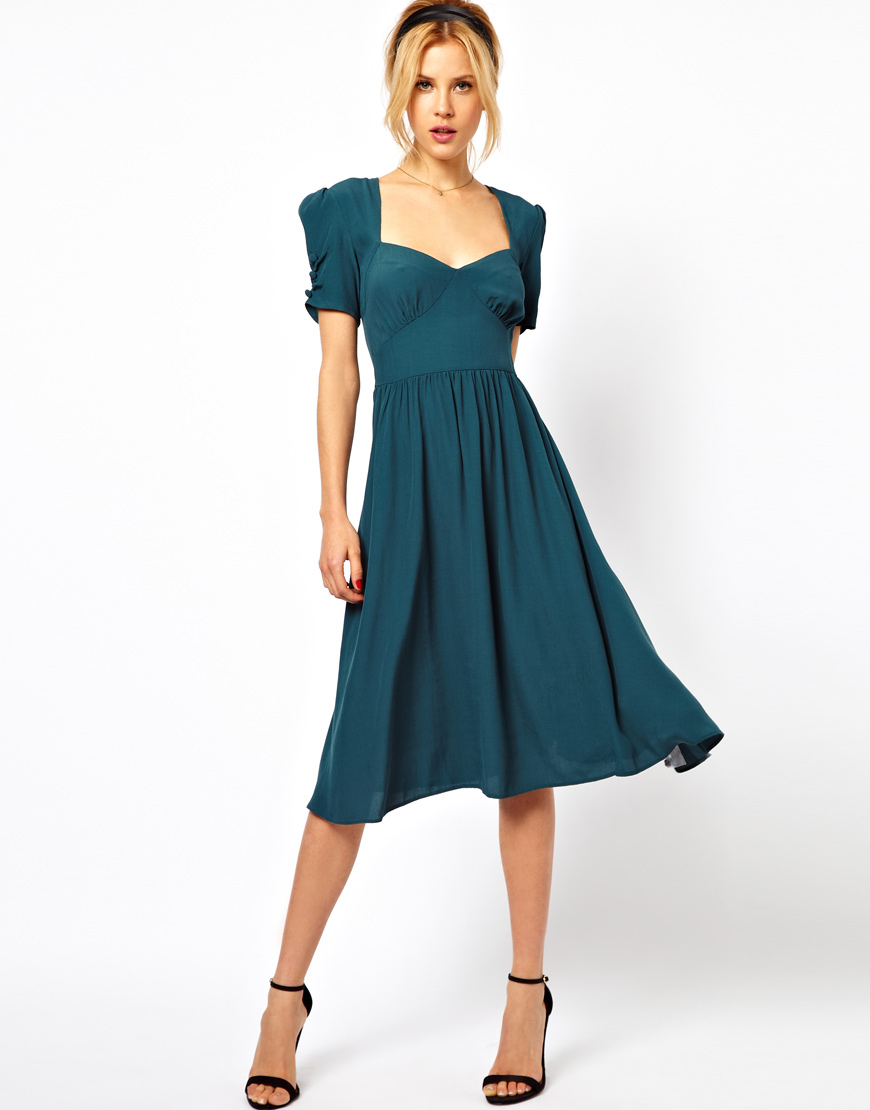 Asos Asos Midi Dress With Covered Buttons In Green Lyst