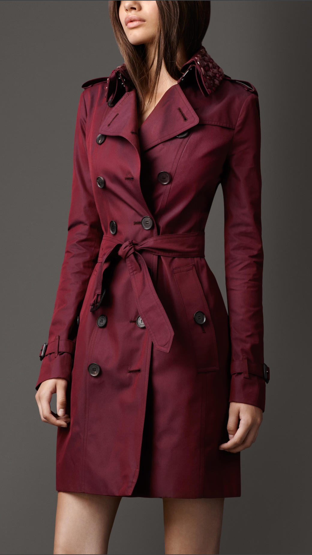 lyst burberry long beaded collar cotton gabardine trench coat in red. Black Bedroom Furniture Sets. Home Design Ideas