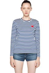 Comme Des Garçons Stripe Red Heart Long Sleeve Tee in Royal Blue - Lyst