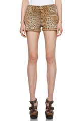 Current/Elliott Shorts in Camel Leopard - Lyst