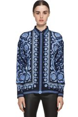 Versace Mixed Pattern Silk Blouse in Navy - Lyst