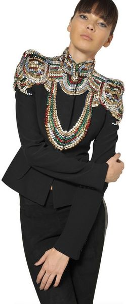 Alexander McQueen Jewelled Leaf Viscose Crepe Jacket - Lyst