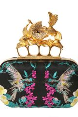 Alexander McQueen Embroidered Satin Knucklebox Clutch - Lyst