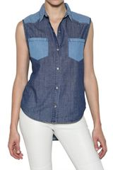 American Retro Sleeveless Cotton Denim Shirt - Lyst