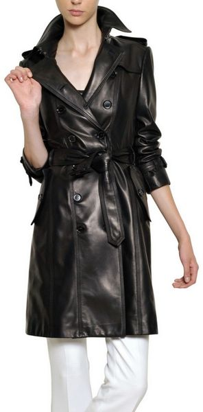 Burberry Soft Nappa Leather Trench Coat in Black - Lyst