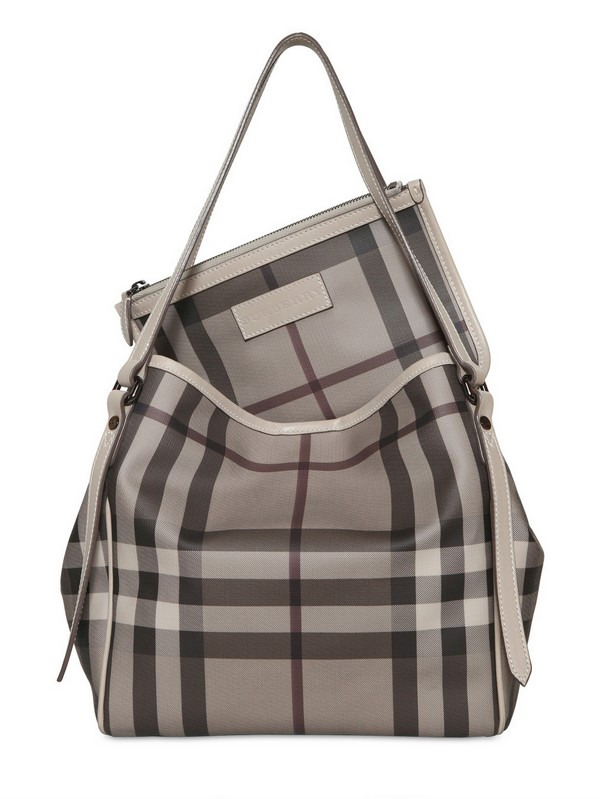 112b0d3da8eb Lyst - Burberry Small Canterbury Smoked Check Pvc Bag in Gray