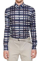 Burberry Printed Cotton Poplin Slim Fit Shirt - Lyst