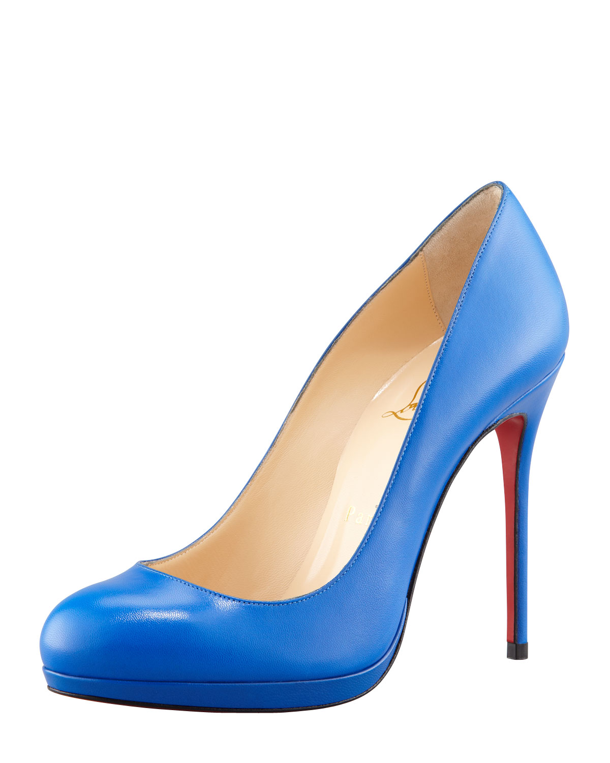 1abc4c74641f Lyst - Christian Louboutin Filo Leather Red Sole Pump Blue Sapphire ...