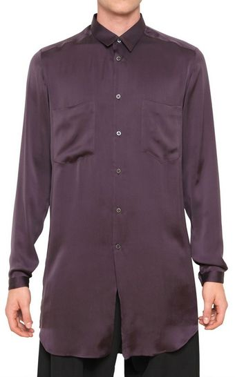 Damir Doma Silk Satin Front Pockets Long Shirt - Lyst