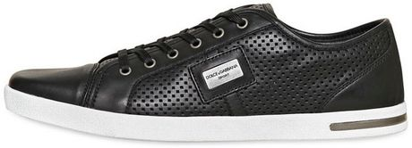 Dolce & Gabbana Uk Logo Perforated Leather Sneakers in Black for Men (black/white) - Lyst