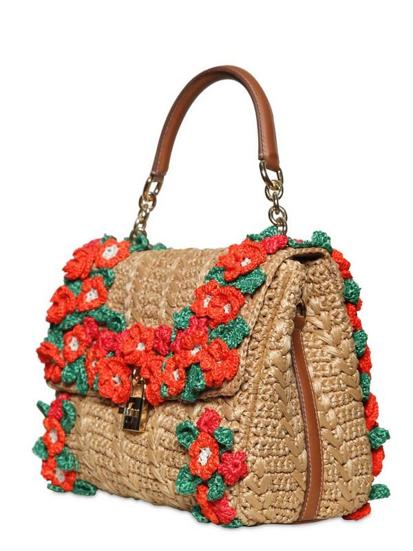 Lyst - Dolce   Gabbana Crochet Raffia Dolce Bag Top Handle in Natural 5d906d0595