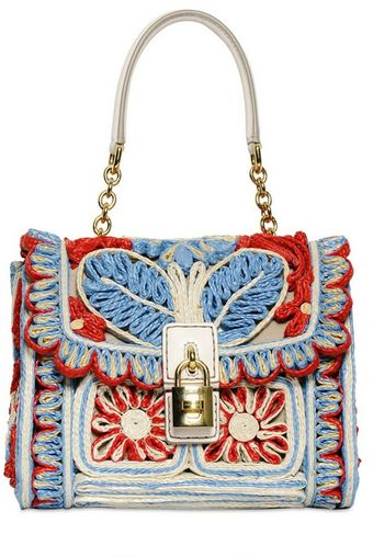 Dolce & Gabbana Dolce Bag Embroidered Raffia Bag - Lyst