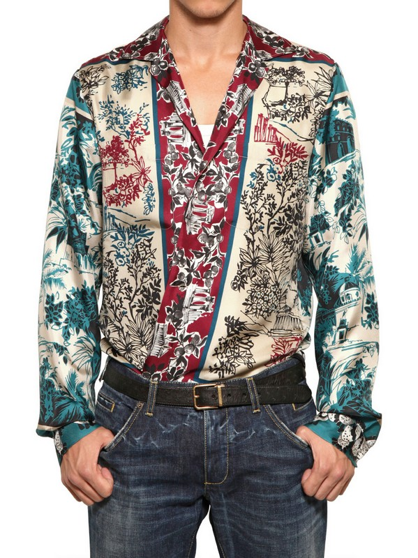 Dolce gabbana printed silk shirt in red for men lyst for Dolce and gabbana printed t shirts