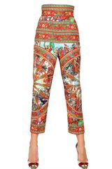 Dolce & Gabbana Stretch Cotton Drill Printed Trousers - Lyst