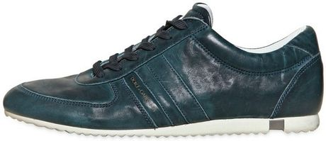 Dolce & Gabbana Australia Washed Leather Sneakers in Blue for Men (peacock)