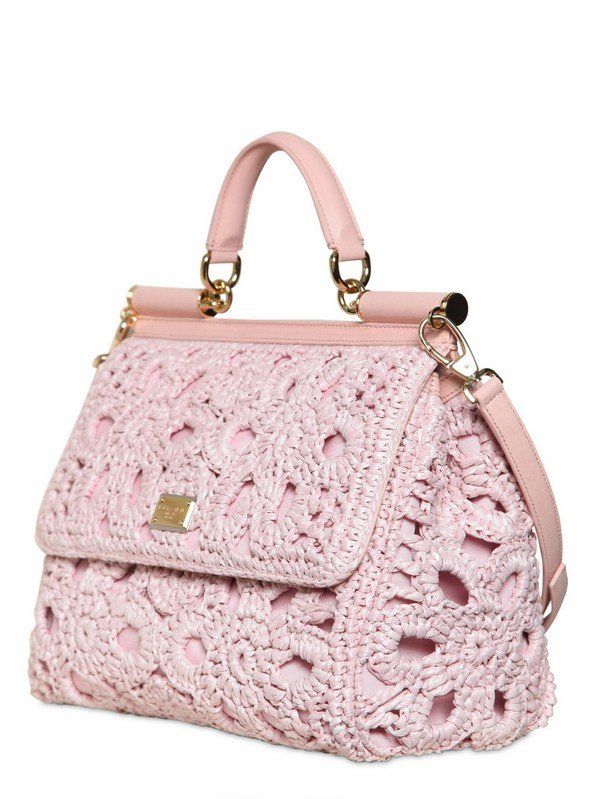 e11ff1bd9441 Lyst - Dolce   Gabbana Miss Sicily Crochet Raffia Canvas Bag in Pink