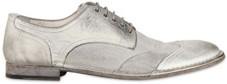 Dolce & Gabbana Milano Canvas Crinkled Leather Shoes in White for Men (off white) - Lyst