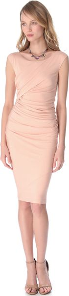 Donna Karan New York Cap Sleeve Drape Dress in Beige (flesh)