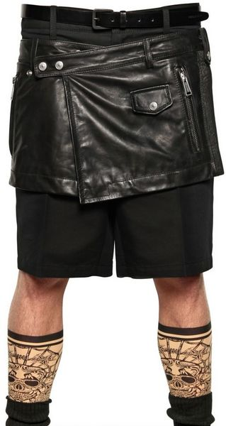 dsquared 178 leather biker skirt in black for lyst