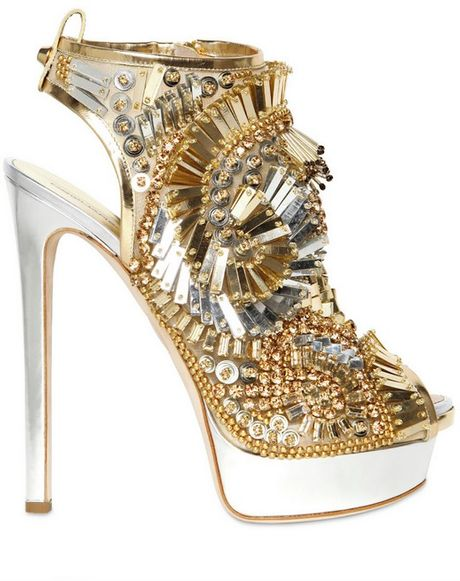 Dsquared² 150mm Laminated Leather Beaded Sandals in Gold