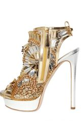 Dsquared2 150mm Laminated Leather Beaded Sandals in Gold - Lyst