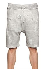 DSquared2 Distressed Cotton Fleece Jogging Shorts