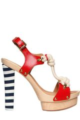 DSquared2 130mm Yacht Knot Leather Wood Sandals - Lyst