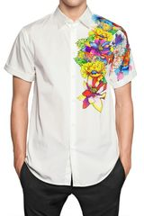 DSquared2 Tattoo Print Poplin Short Sleeved Shirt - Lyst