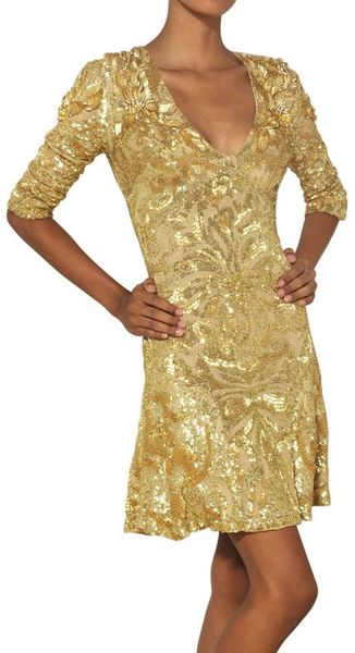 Emilio Pucci Sequined Silk Georgette Dress - Lyst