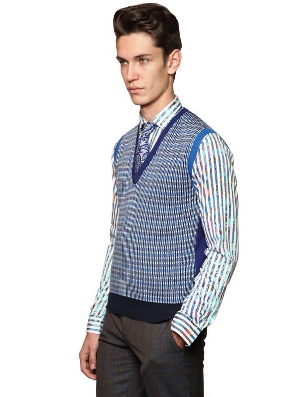 Arm Knitting Vest : Etro cotton jacquard cashmere knit vest in blue for men lyst