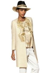 Etro Embroidered Cotton Bouclé Coat - Lyst