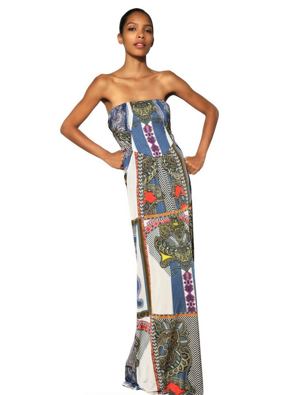 Lyst Etro Printed Viscose Jersey Long Dress