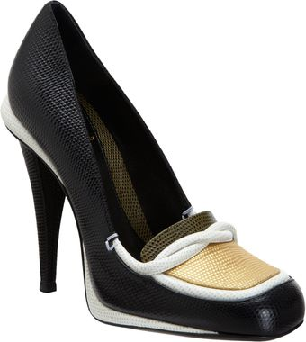 Fendi Lizardstamped Loafer Platform Pump - Lyst