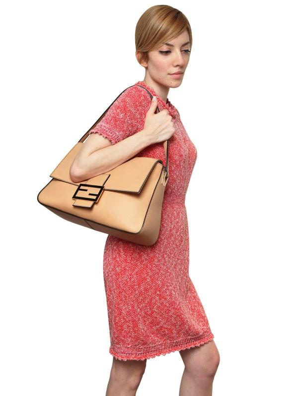 Lyst - Fendi Big Mamma Leather Shoulder Bag In Natural-2225